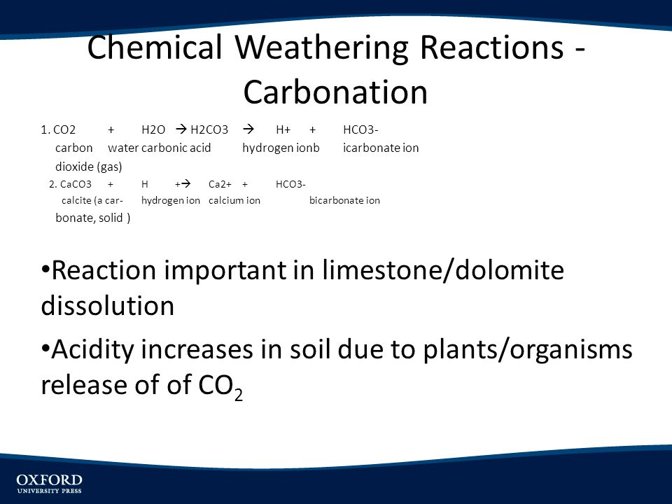 Chemical Weathering Reactions - Carbonation