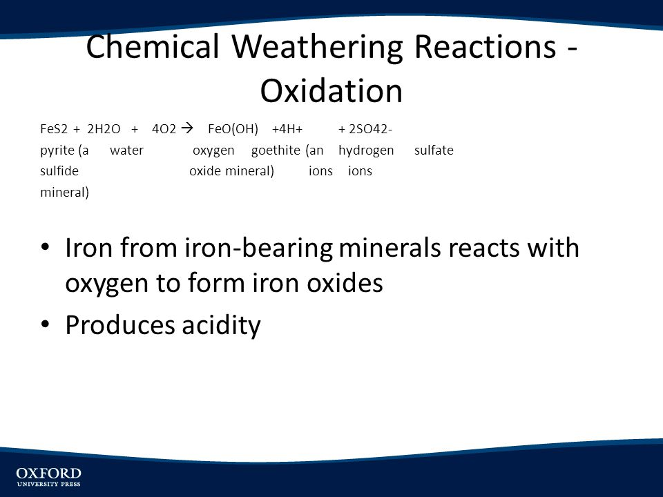 Chemical Weathering Reactions - Oxidation