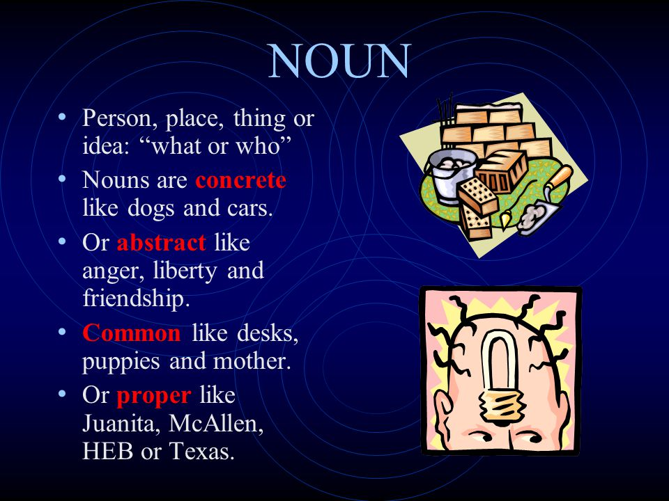 NOUN Person, place, thing or idea: what or who