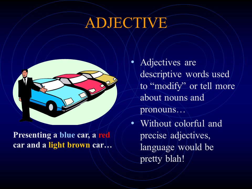 ADJECTIVE Adjectives are descriptive words used to modify or tell more about nouns and pronouns…