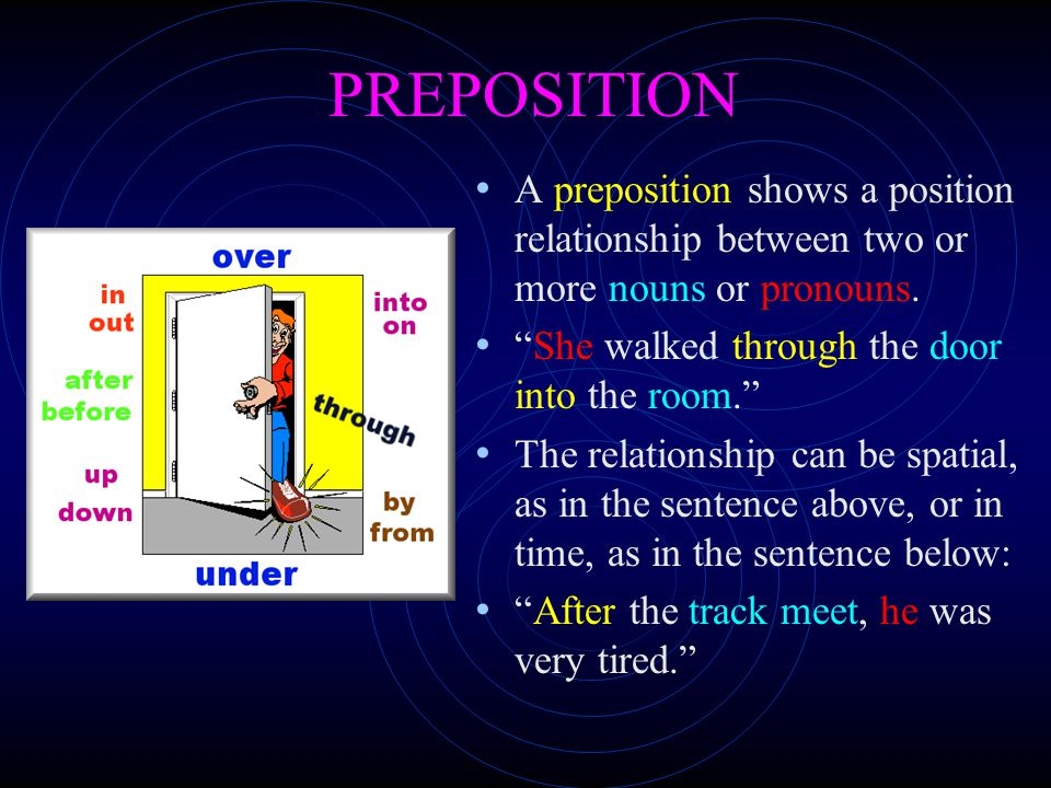 PREPOSITION A preposition shows a position relationship between two or more nouns or pronouns. She walked through the door into the room.