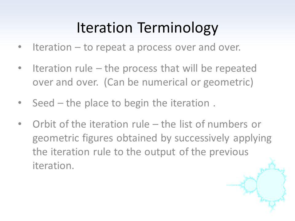 Iteration Terminology