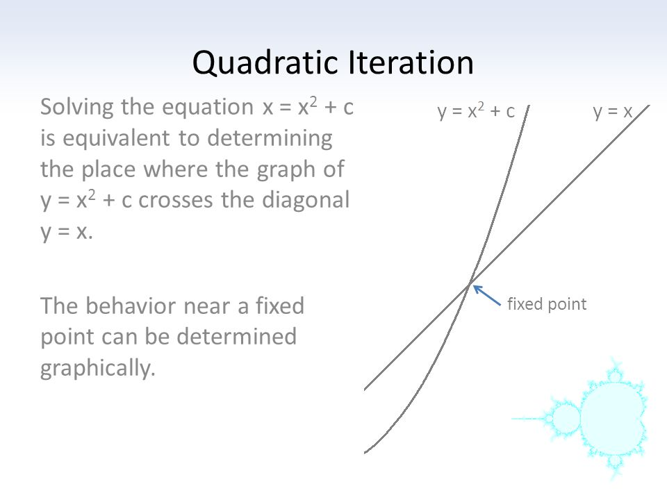 Quadratic Iteration Solving the equation x = x2 + c is equivalent to determining the place where the graph of y = x2 + c crosses the diagonal y = x.