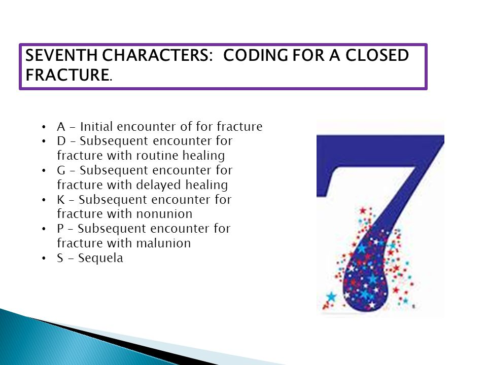 SEVENTH CHARACTERS: CODING FOR A CLOSED FRACTURE.