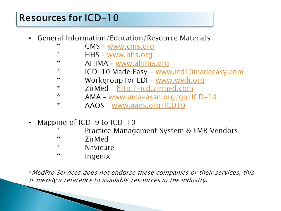 Resources for ICD-10 General Information/Education/Resource Materials