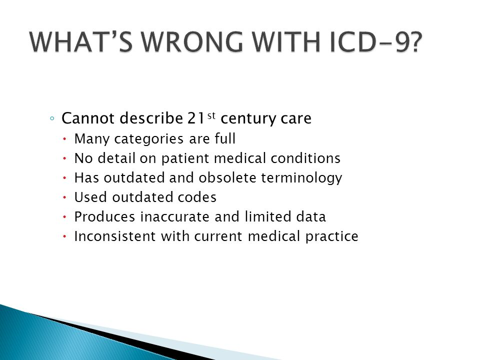 WHAT'S WRONG WITH ICD-9 Cannot describe 21st century care