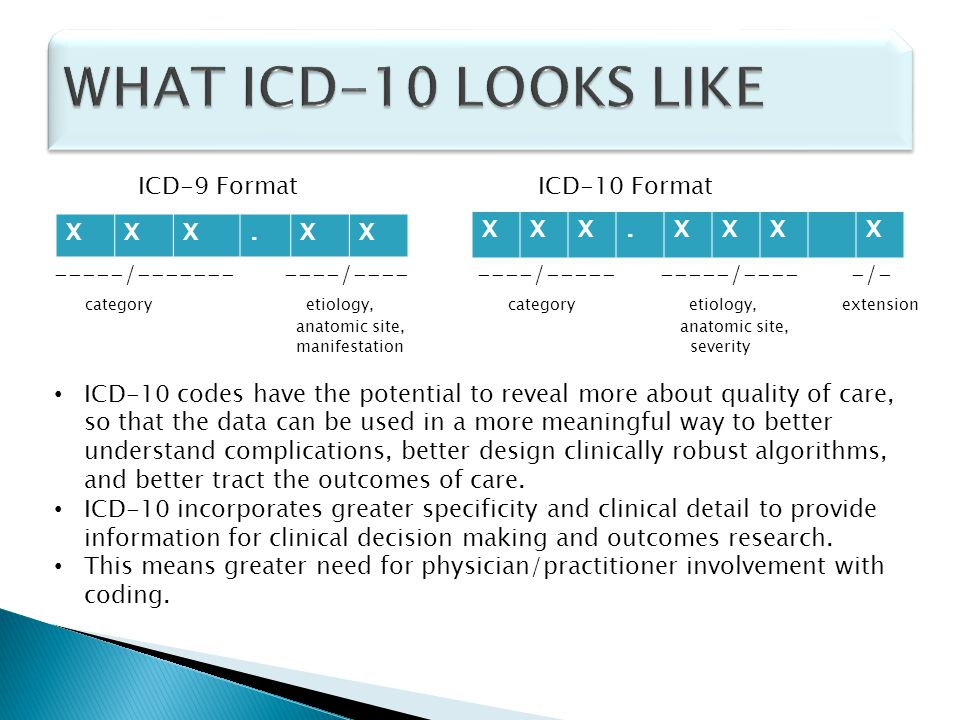 WHAT ICD-10 LOOKS LIKE ICD-9 Format ICD-10 Format X . X .