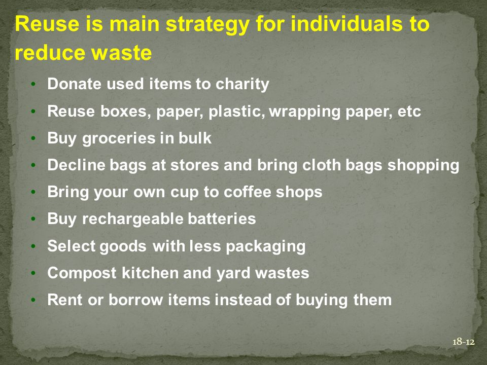 Reuse is main strategy for individuals to reduce waste