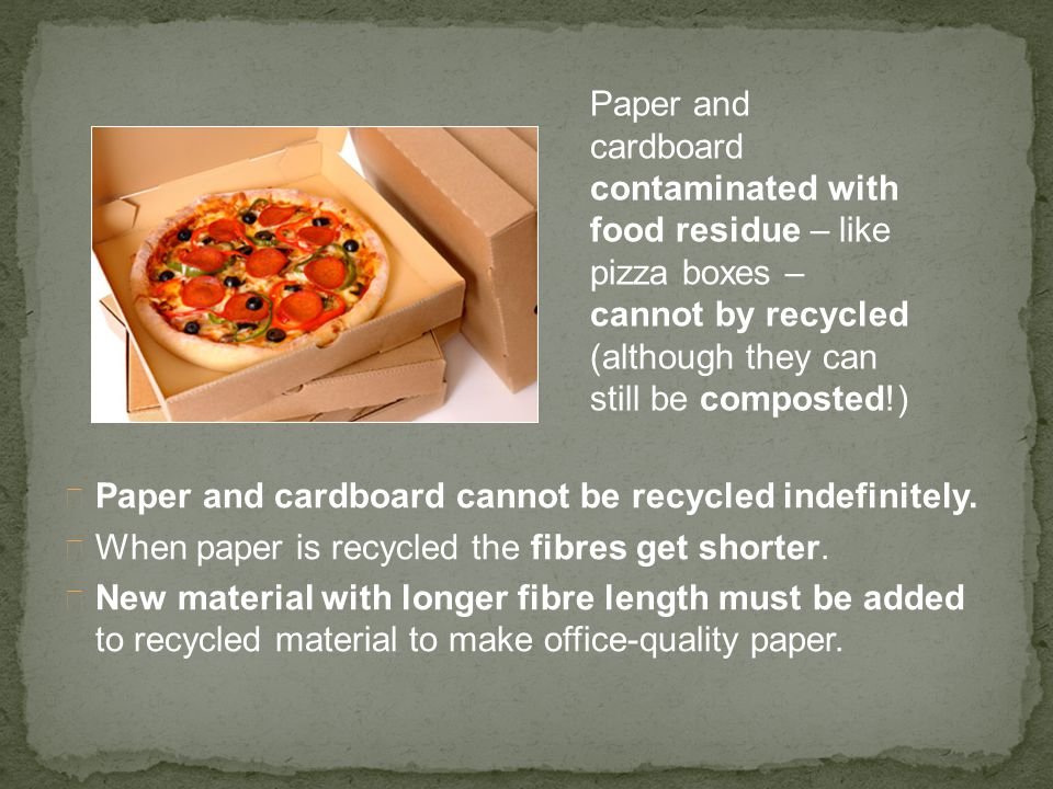 Paper and cardboard contaminated with food residue – like pizza boxes – cannot by recycled (although they can still be composted!)
