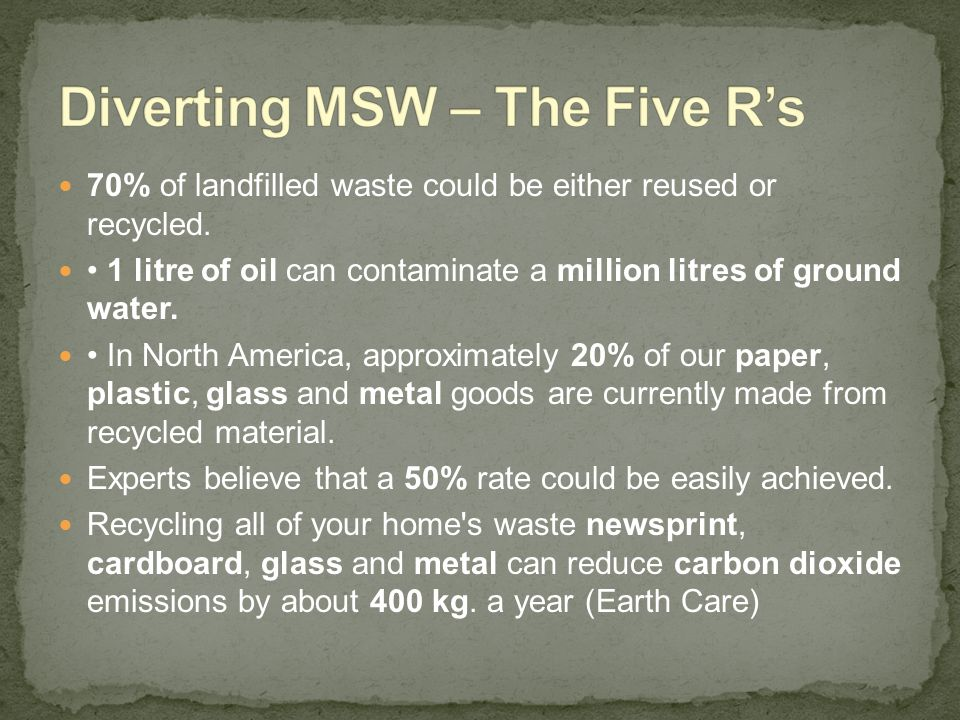Diverting MSW – The Five R's