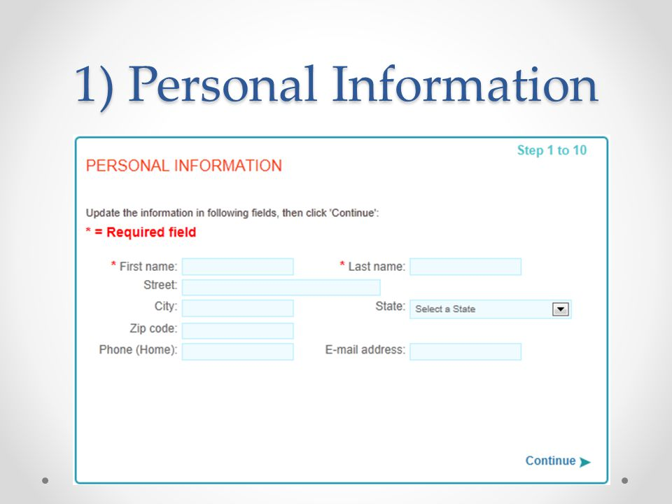 1) Personal Information