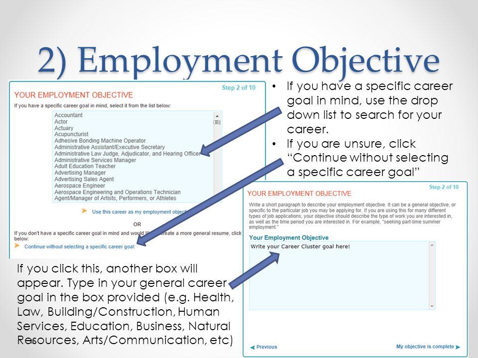 2) Employment Objective
