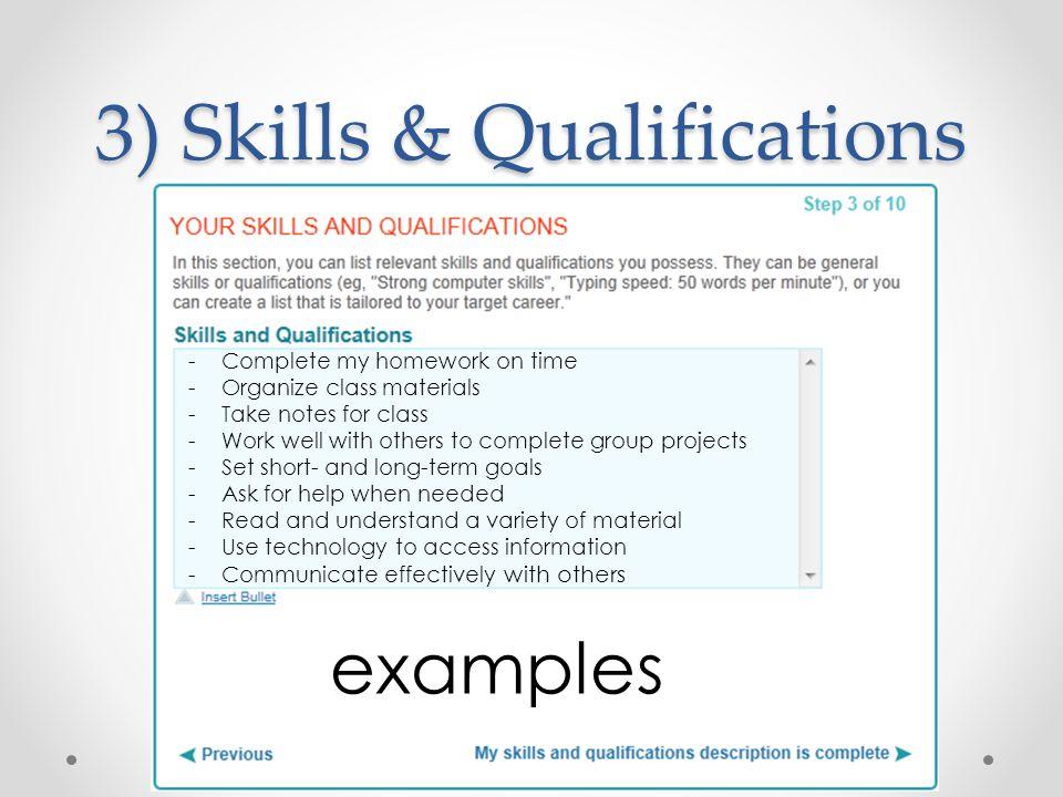 3) Skills & Qualifications