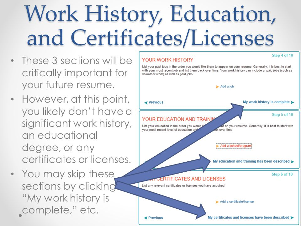 Work History, Education, and Certificates/Licenses
