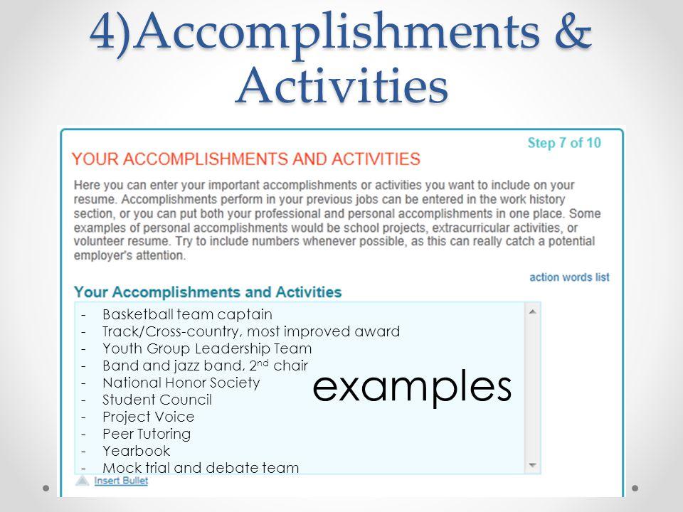 4)Accomplishments & Activities