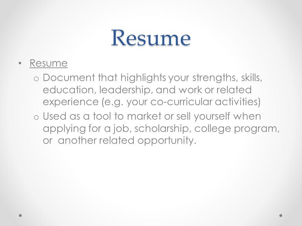 Resume Resume.