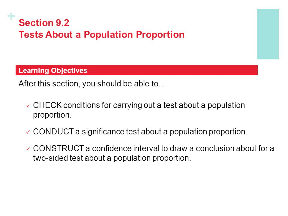 Section 9.2 Tests About a Population Proportion