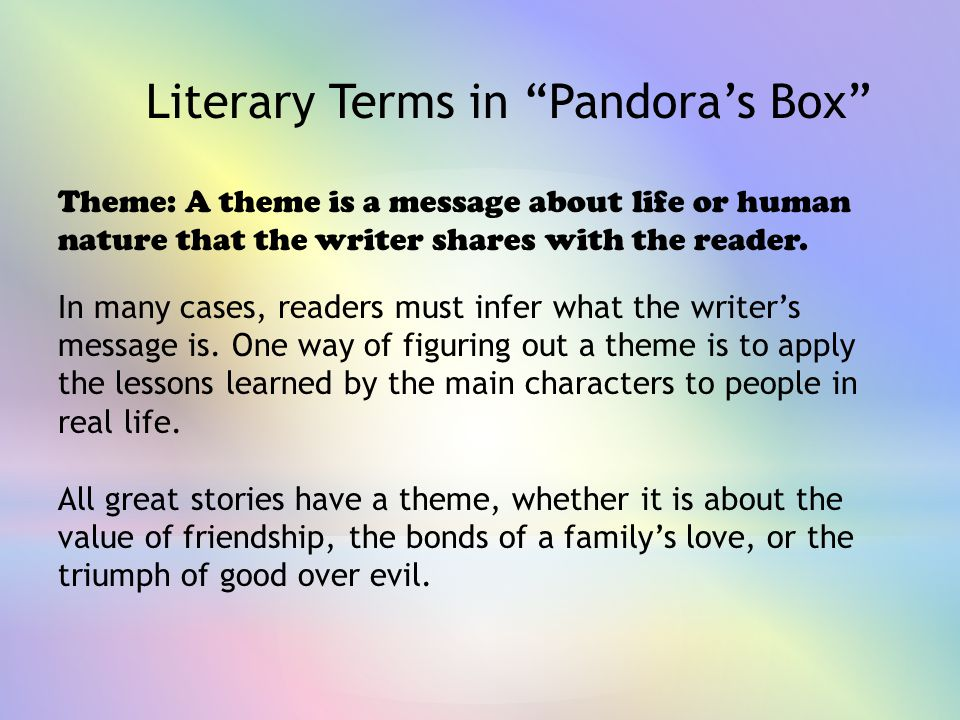 Literary Terms in Pandora's Box