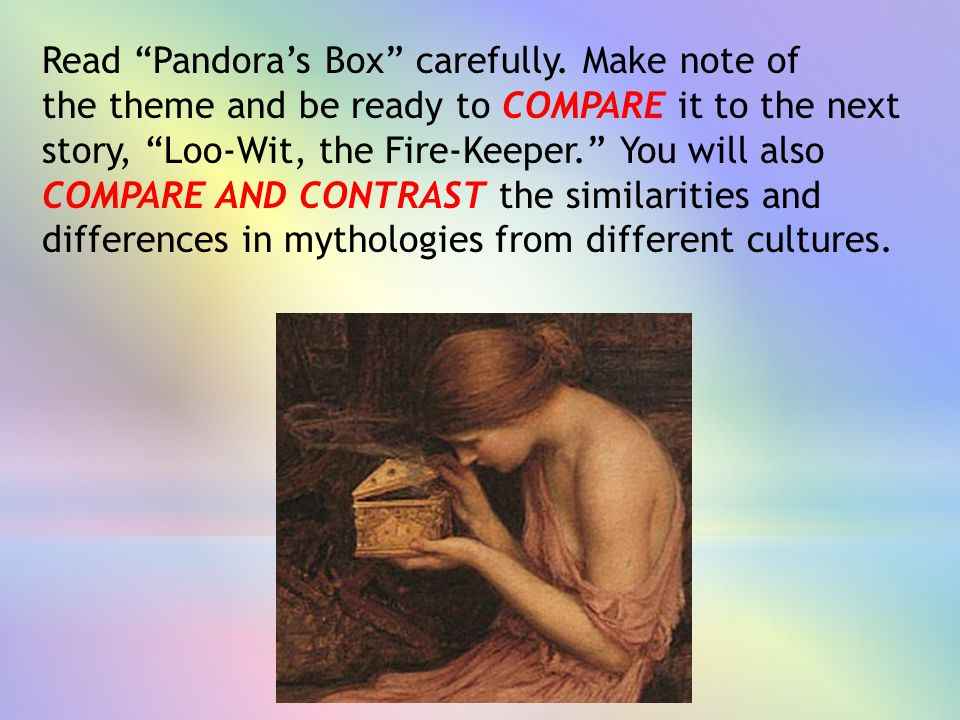 Read Pandora's Box carefully. Make note of