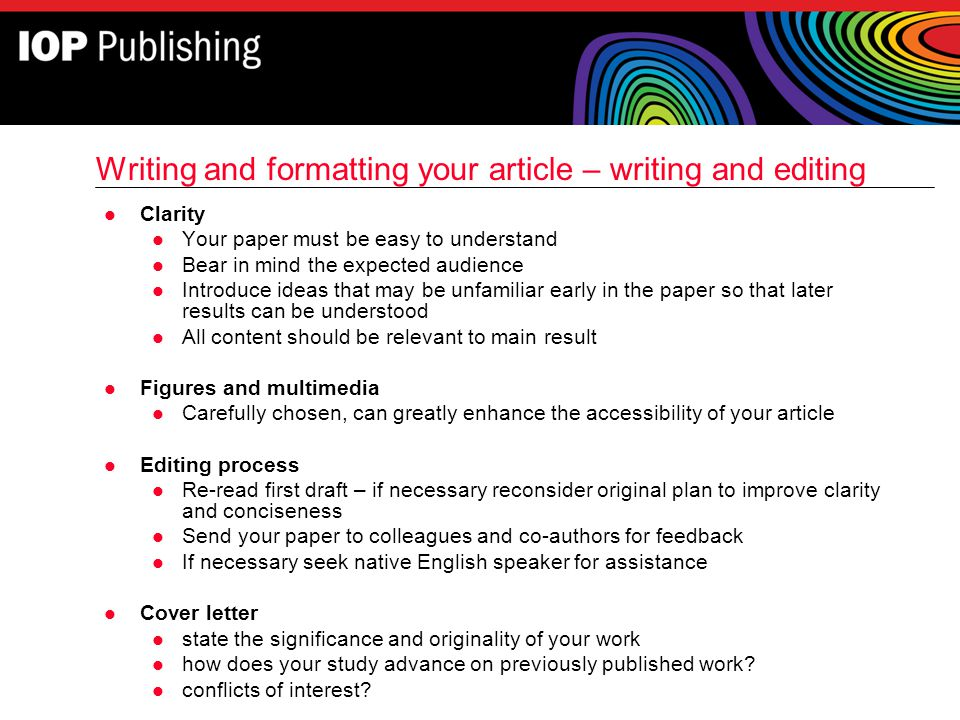 Writing and formatting your article – writing and editing