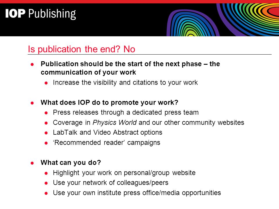 Is publication the end No