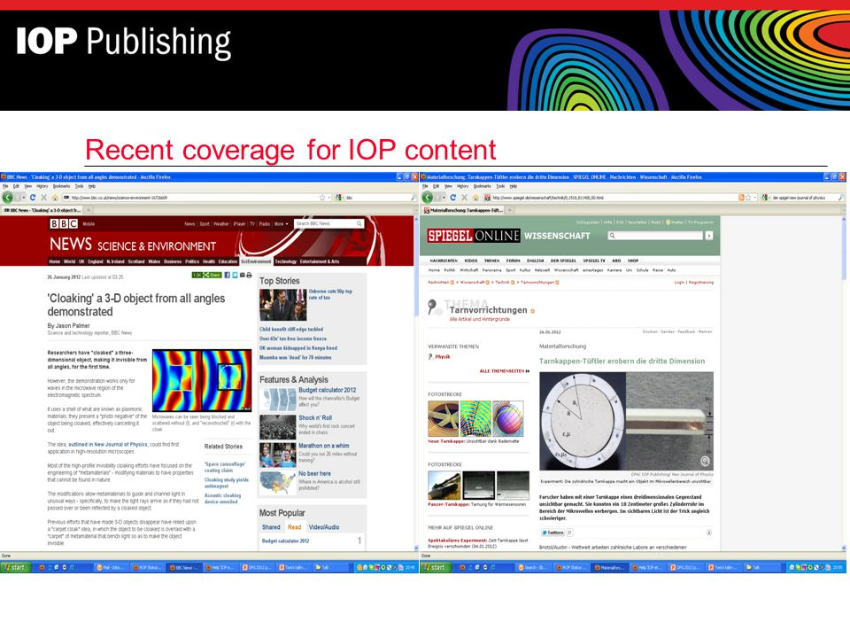 Recent coverage for IOP content
