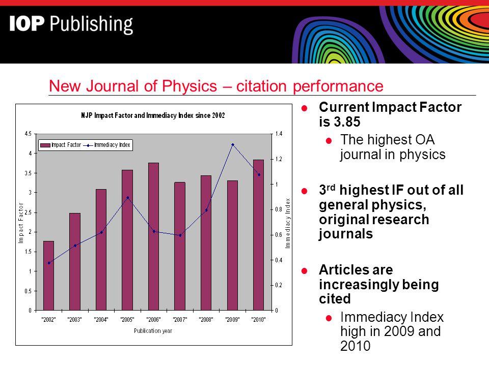 New Journal of Physics – citation performance