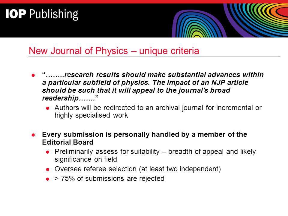 New Journal of Physics – unique criteria
