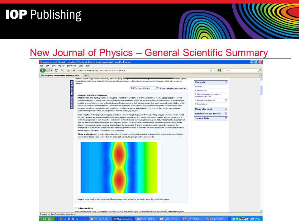 New Journal of Physics – General Scientific Summary