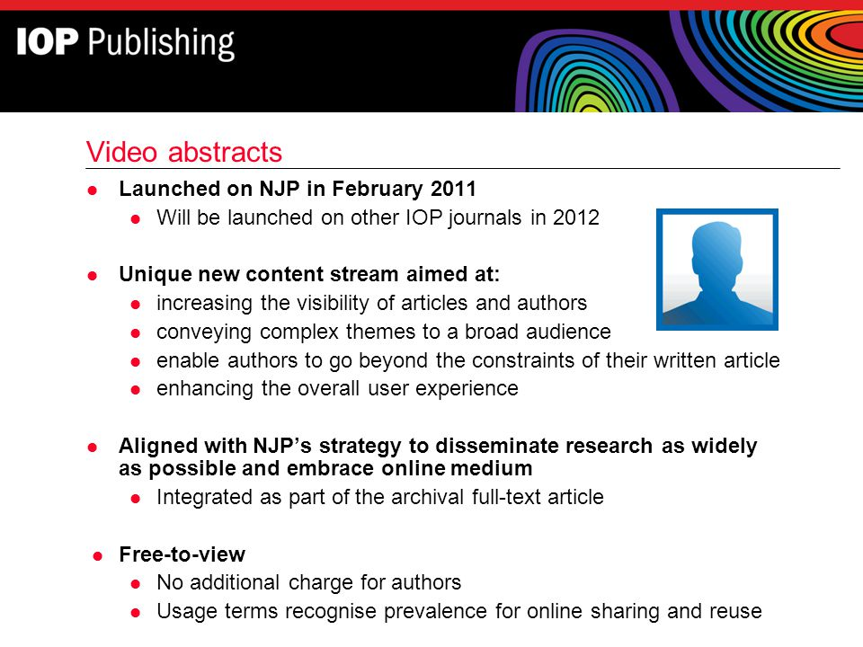 Video abstracts Launched on NJP in February 2011