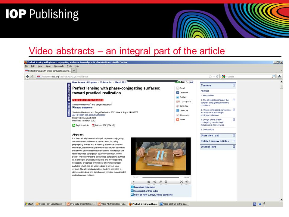 Video abstracts – an integral part of the article