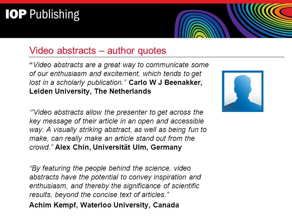 Video abstracts – author quotes