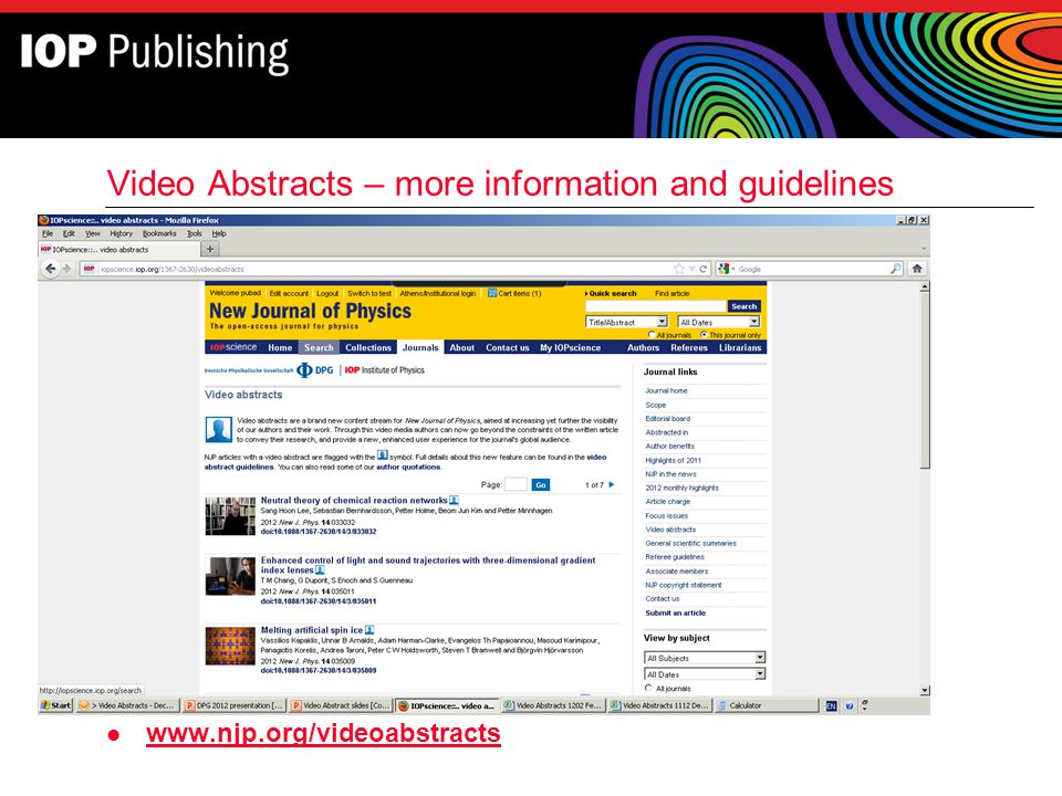 Video Abstracts – more information and guidelines