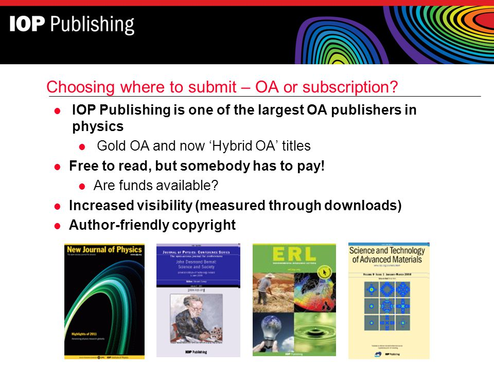 Choosing where to submit – OA or subscription
