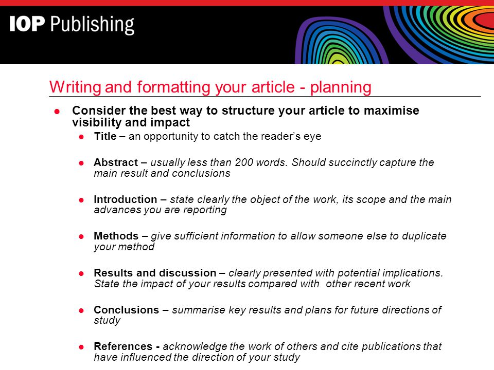 Writing and formatting your article - planning