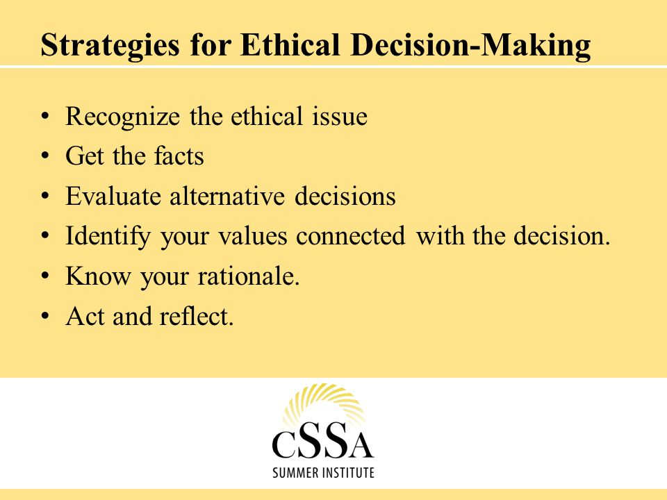 Strategies for Ethical Decision-Making