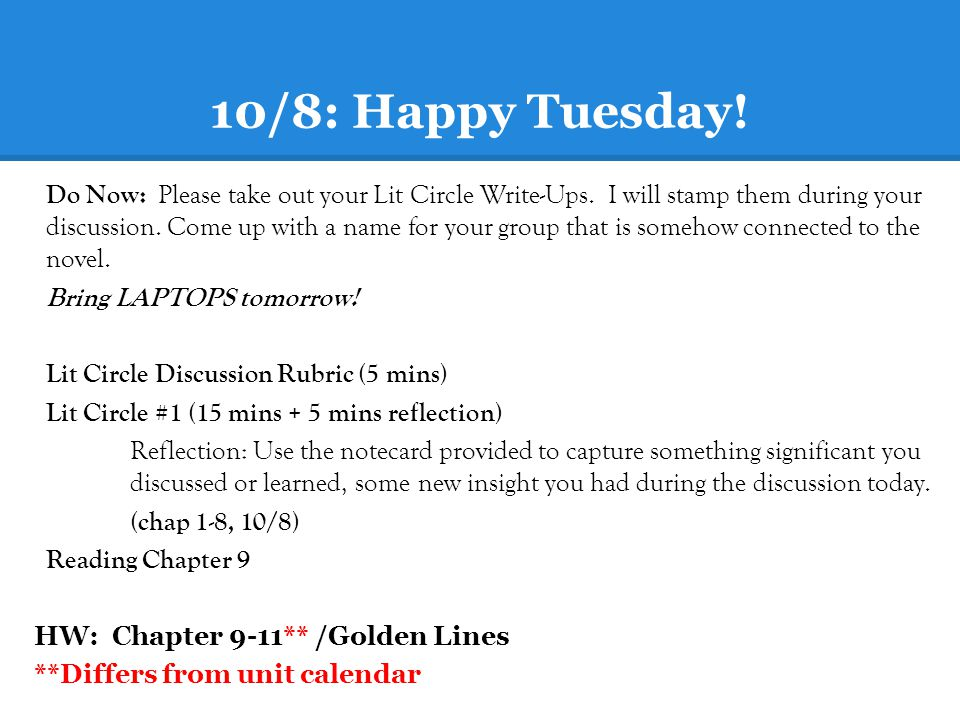 10/8: Happy Tuesday!