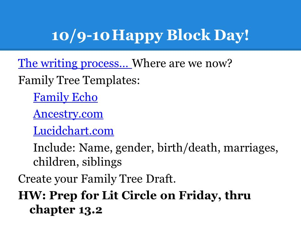 10/9-10 Happy Block Day! The writing process… Where are we now