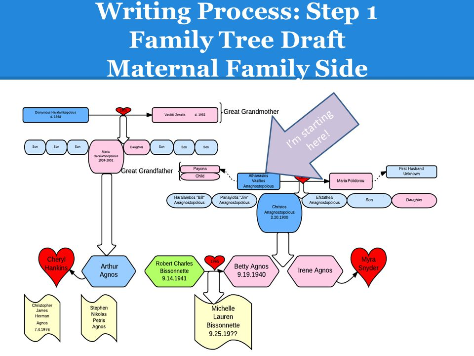 Writing Process: Step 1 Family Tree Draft Maternal Family Side
