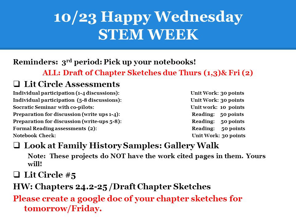 10/23 Happy Wednesday STEM WEEK