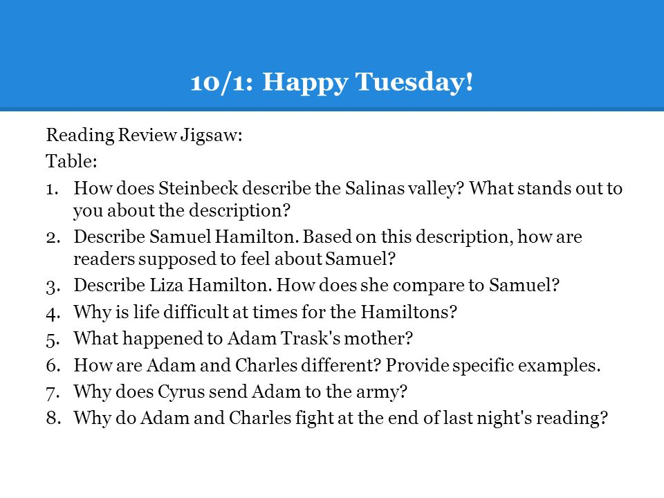 10/1: Happy Tuesday! Reading Review Jigsaw: Table: