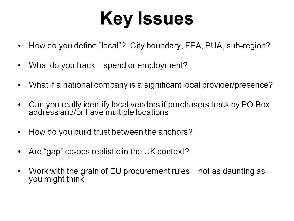 Key Issues How do you define local City boundary, FEA, PUA, sub-region What do you track – spend or employment