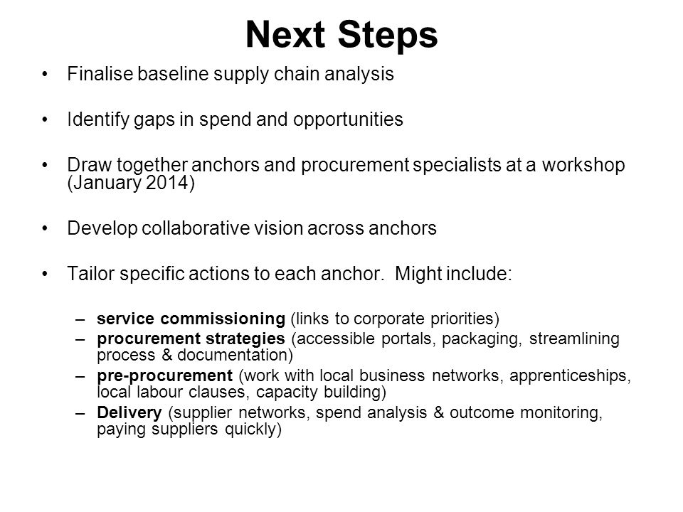 Next Steps Finalise baseline supply chain analysis
