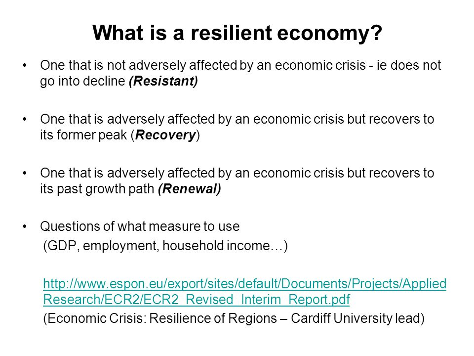 What is a resilient economy