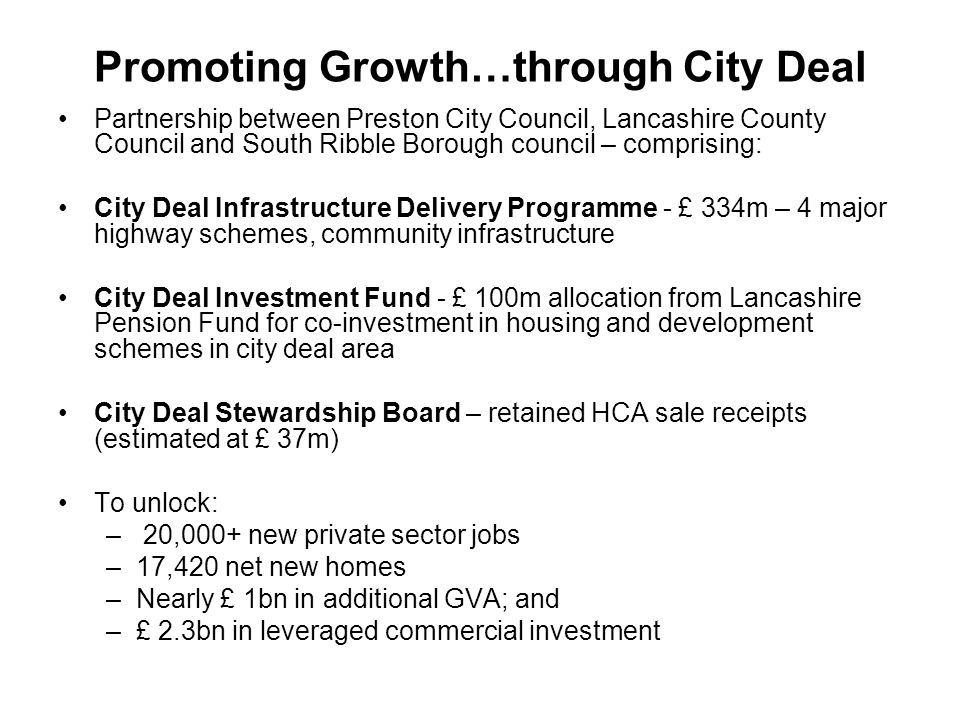 Promoting Growth…through City Deal