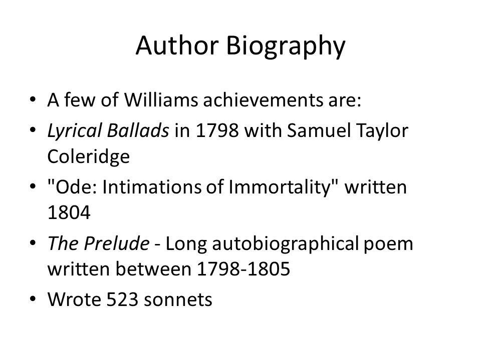 Author Biography A few of Williams achievements are: