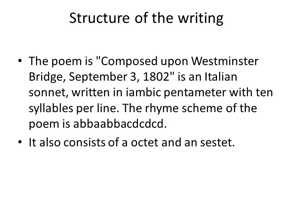 Structure of the writing