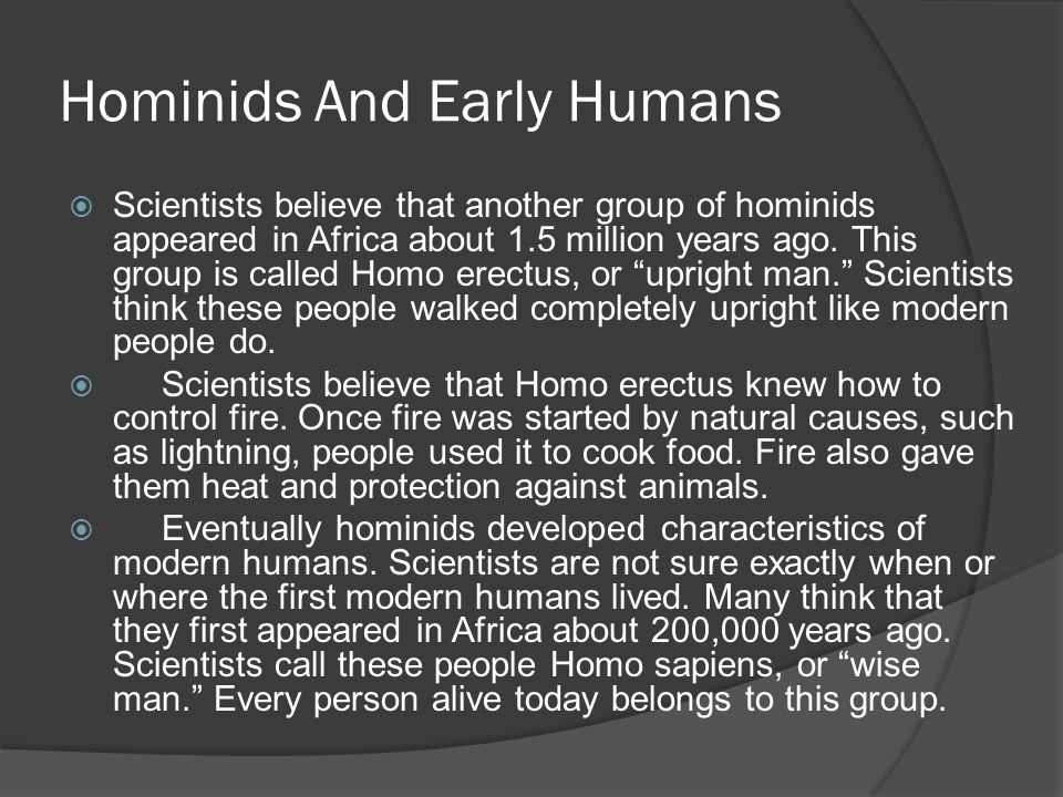 Hominids And Early Humans