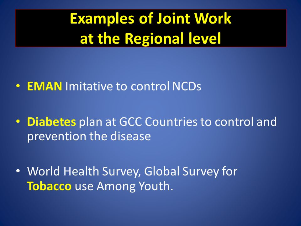 Examples of Joint Work at the Regional level
