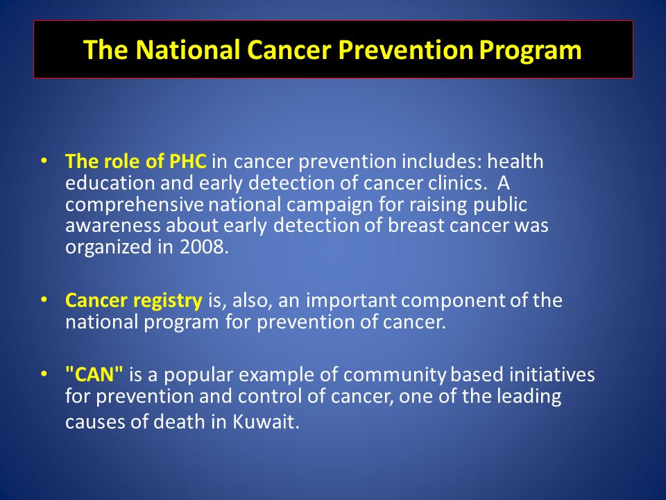 The National Cancer Prevention Program